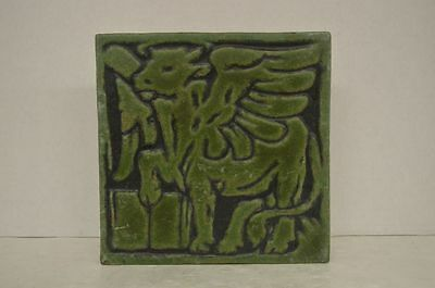 Antique Grueby Saint Luke Green Bull Tile 8x8