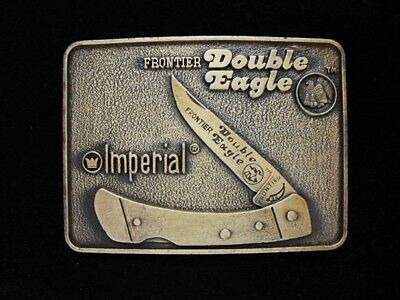 NG09167 *NOS* VINTAGE 1970s **IMPERIAL FRONTIER DOUBLE EAGLE KNIFE** BELT BUCKLE