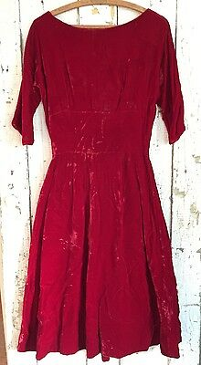 Vintage 1950s Cherry Red Velvet Dress Pin Up Rockabilly Holiday Gown 1940 Pleats