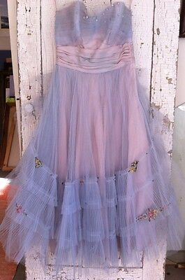 Vintage 1950s Lavender Tulle  Wedding Dress Silk Flowers Gown Pearl Prom Sequins