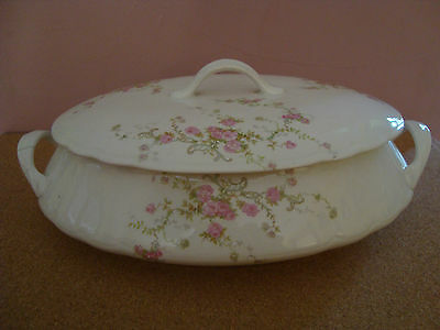 #63 Old Edwin M Knowles Covered porcelain Vegetable Bowl circa 1915