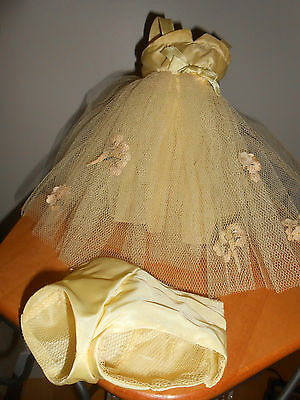 Doll Terri Lee Clothing  Yellow Formal with panties Printed Tag Flowers 1950s