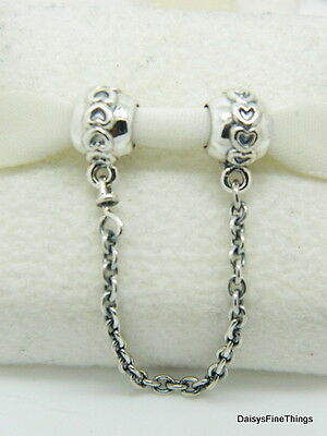 NEW! AUTHENTIC PANDORA CHARM LOVE CONNECTION SAFETY CHAIN #791088-05BOX INCLUDED
