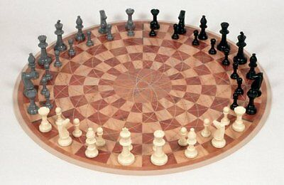 NEW Large 48 Piece 3 Man Chess Set PVC Plastic Board Game 3 Player 2.5 Inch King