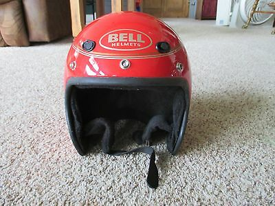 Vintage used cool BELL SPRINT Red Motorcycle Open Face Helmet - Size 7-3/8