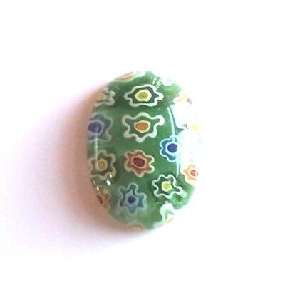 Millefiori Art Glass Cabochons 18x13mm Oval Cabs Spring Green Multi Flowers (2)