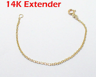 Cable Chain Necklace Extender for Pendant Charm REAL 14K Yellow Gold 1.5mm