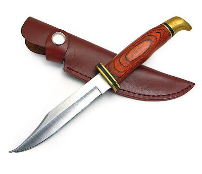 """7.75"""" HUNTING BOWIE SKINNING KNIFE LEATHER SHEATH Fixed Survival Blade Skinner"""