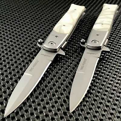 """2 x TAC FORCE ASSISTED OPEN TACTICAL STILLETO PEARL HANDLE FOLDING KNIFE OPEN 8"""""""