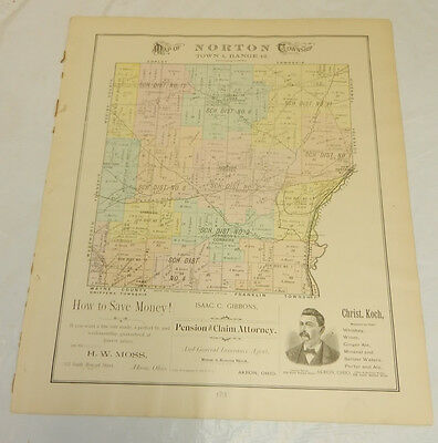 1891 COLOR Plat Map, Summit County, OH//NORTON TOWNSHIP