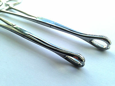 "[Two] 2 x 7.25"" FOERSTER SPONGE FORCEPS CLAMPS. 1 x Standard + 1 x Slotted Ends"