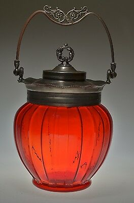 ca 1898 TORQUAY byConsolidated Lamp CERISE (Pigeon Blood) Cracker / Biscuit Jar