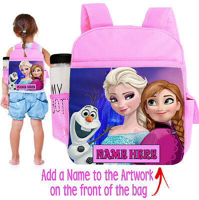 Personalised Unoffical Frozen Elsa Anna Childrens Pink Backpack Nursery Bag Fr01