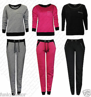 Ladies Womens Girls WORKOUT Diamante Jogging Bottoms Top Jog TrackSuits UK 8-16