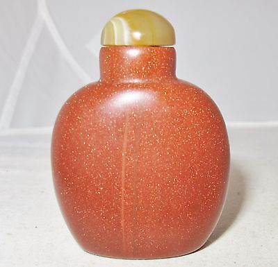 "Vintage ? 2.35"" Chinese Gold Stone / Goldstone Snuff Bottle with Carnelian Agate"