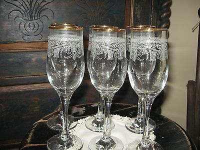 Set of Six 8 Inches Tall  Gold Rimmed Wine Glasses with Decorative Etching