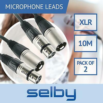 2 Pack 10m Balanced Microphone Cables XLR Male to Female Mic Lead