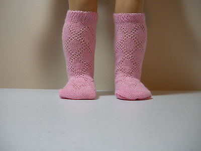 Fits 12 Inch Tiny Tears Doll .... Pink Knit Diamond Pattern Socks .... S0