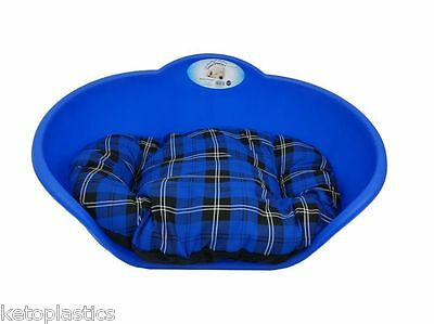 SMALL Plastic ROYAL BLUE Pet Bed With BLUE TARTAN Cushion Dog Cat Sleep Basket