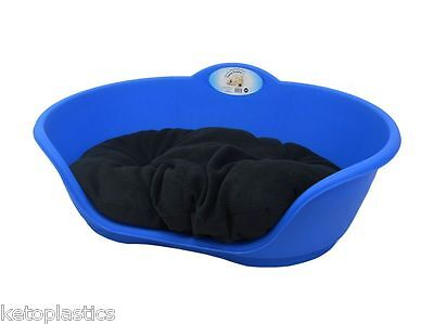 SMALL Plastic ROYAL BLUE Pet Bed With BLACK Cushion Dog Cat Sleep Basket Dogs