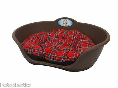 SMALL Plastic BROWN Pet Bed With RED TARTAN Cushion Dog Cat Sleep Basket Pets