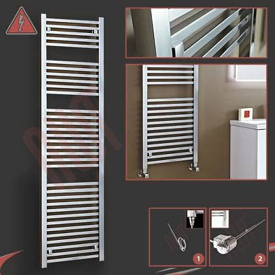 "500mm(w) x 1800mm(h) ""Atlas"" Electric Chrome Designer Towel Rail Radiator 600W"