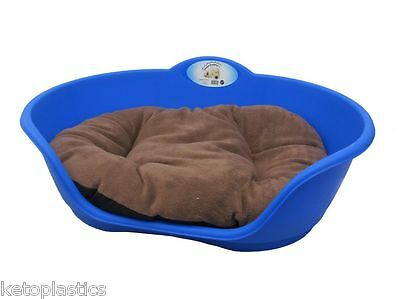 SMALL Plastic ROYAL BLUE Pet Bed With BROWN Cushion Dog Cat Sleep Basket Dogs