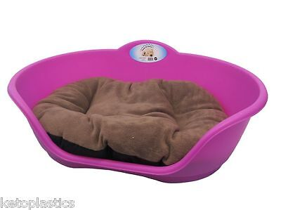 SMALL Plastic FUCHSIA PINK Pet Bed With BROWN Cushion Dog Cat Sleep Basket Dogs