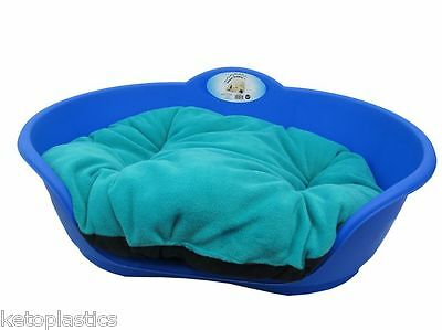 SMALL Plastic ROYAL BLUE Pet Bed With AQUA TEAL GREEN Cushion Dog Cat Basket