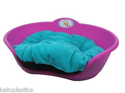 SMALL Plastic FUCHSIA PINK Pet Bed With AQUA TEAL GREEN Cushion Dog Cat Basket