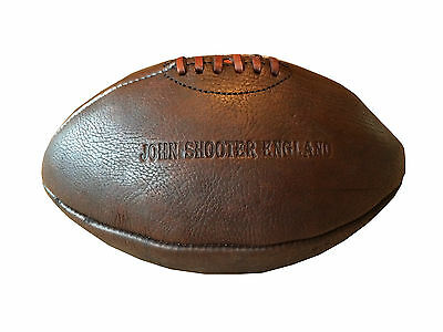 Vintage Retro Style Leather Rugby Ball Antique Cow Hide Leather