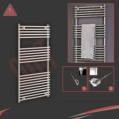 "500mm(w) x 1200mm(h) ""Polaris"" Electric Chrome Heated Towel Rail Radiator 300W"