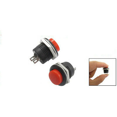 5X Momentary SPST NO Red Round Cap Push Button Switch AC 6A/125V 3A/250V MT