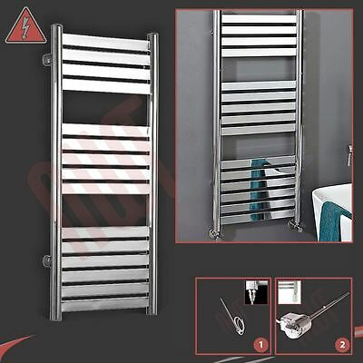 "500mm(w) x 1148mm(h) ""Terra"" Electric Chrome Designer Towel Rail Radiator 300W"