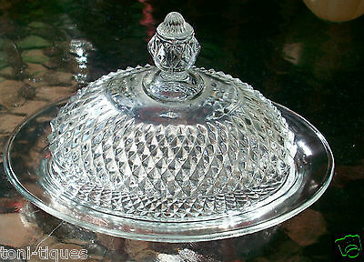 Indiana Glass Tiara Diamond Point Pattern Pressed Glass Oval Covered Butter Dish
