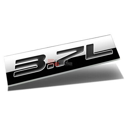 METAL 3D PLATE EMBLEM DECAL LOGO TRIM SYMBOL POLISHED CHROME BLACK 3.7L 3.7 L