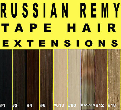 RUSSIAN REMY TAPE WEFT DOUBLE DRAWN HUMAN HAIR EXTENSIONS Brown Blonde Black