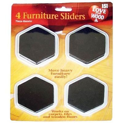 4 X furniture Gliders Movers Sliders For Floor Carpet Titles Wood Laminate Table