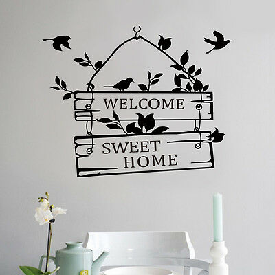 Removable Welcome Sweet Home Quote Wall Sticker Art Vinyl Decal Home Room Decor