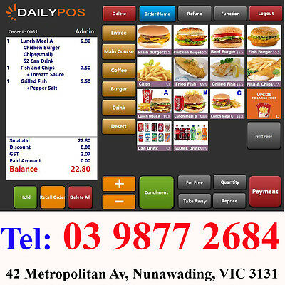 Complete Touch Screen Point of Sale System POS software Cafe  fish Chips, Pizza