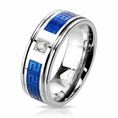 316L Stainless Steel Blue Greek Key 0.15 Carat CZ Band Ring Size 9-13