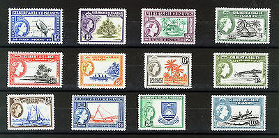 Gilbert & Ellice Islands 1956 Definitives Sg64/75 Mnh
