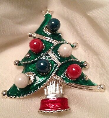 Vtg Christmas Tree Pin W/rd Ball Earring Ornaments Silvertone & Red Green Enamel