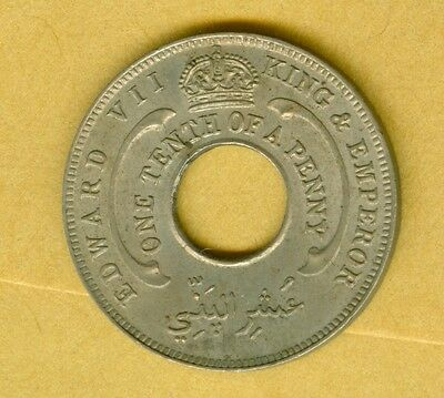 BRITISH WEST AFRICA 1908 1/10 OF A PENNY--UNCIRCULATED