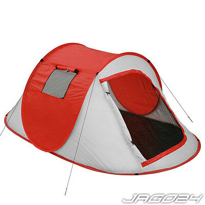 2 Person Pop Up Tent Berth Outdoor Hiking Family Beach UV Sun Shelter Shade Red