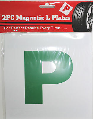 2 x GREEN MAGNETIC NEW DRIVER 'P' PASS PLATES - NEW DRIVER ALERT
