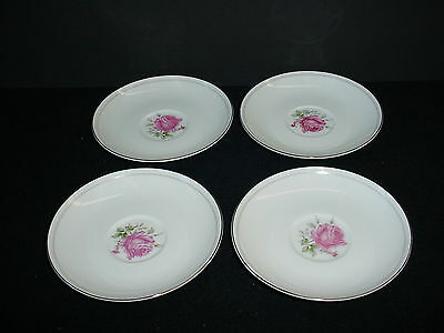 Lot of 4 Imperial Rose Coffee Cup Saucers Fine China Japan 6702 Vintage