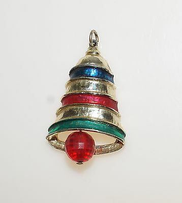 Vintage Jingle Bell Gold Tone Enamel Pendant 1.75""