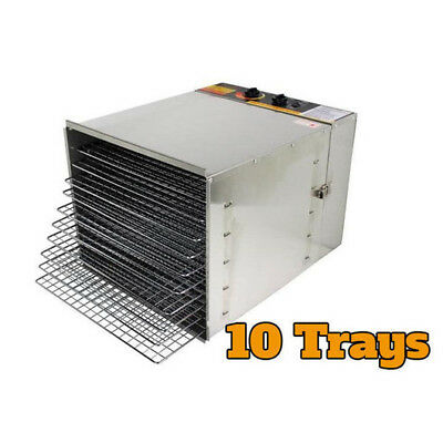 Stainless Steel 10 Tray 1200W Food Dehydrator with Manual Temp Control