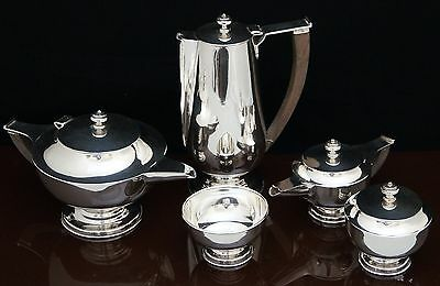 Hard To Find Vintage Art Deco 5Pc Mexican Sterling Silver Coffee Tea Set Aladdin